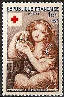 croix rouge jeune fille aux colombes jean baptiste greuze timbres de france mis en 1954. Black Bedroom Furniture Sets. Home Design Ideas