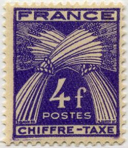 timbre taxe type gerbes timbres de france mis en 1943 1946. Black Bedroom Furniture Sets. Home Design Ideas