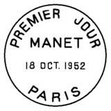 Oblitération 1er jour à Paris le 18 octobre 1952