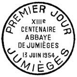 Oblitération 1er jour à Jumièges le 13 juin 1954