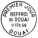 Oblitération 1er jour à Douai le 11 février 1956