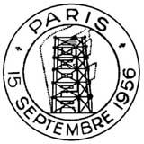 Oblitération 1er jour à Paris et Strasbourg le 15 septembre 1956