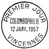 Oblitération 1er jour à Vincennes le 12 janvier 1957