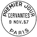 Oblitération 1er jour à Paris au Salon de l'enfance le 9 novembre 1957