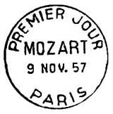 Oblitération 1er jour à Paris le 9 novembre 1957