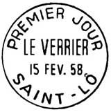 Oblitération 1er jour à Saint-Lô le 15 février 1958