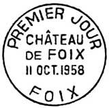 Oblitération 1er jour à Foix le 11 octobre 1958