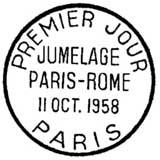 Oblitération 1er jour à Paris le 11 octobre 1958