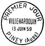 Oblitération 1er jour à Piney (Aube) le 13 juin 1959