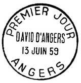 Oblitération 1er jour à Angers le 13 juin 1959