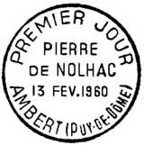 Oblitération 1er jour à Ambert le 13 février 1960