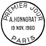Oblitération 1er jour à Paris le 19 novembre 1960