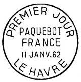 Oblitération 1er jour à Le Havre le 11 janvier 1962