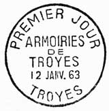 Oblitération 1er jour à Troyes le 12 janvier 1963