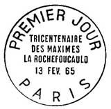 Oblitération 1er jour à Paris le 13 février 1965