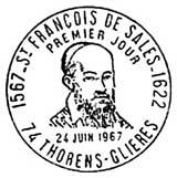 Oblitération 1er jour à Thorens-Glières le 24 juin 1967