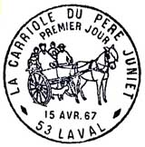 Oblitération 1er jour à Laval le 15 avril 1967