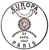 Oblitération 1er jour à Paris et Strasbourg le 22 avril 1967