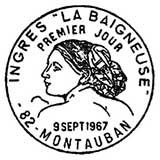 Oblitération 1er jour à Montauban le 9 septembre 1967