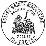 Oblitération 1er jour à Troyes le 7 octobre 1967