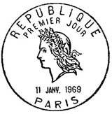 Oblitération 1er jour à Paris le 11 janvier 1969