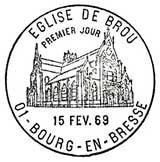 Oblitération 1er jour à Bourg en Bresse le 15 février 1969