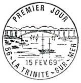 Oblitération 1er jour à La Trinité sur Mer le 15 février 1969