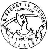 Oblitération 1er jour à Paris le 8 novembre 1969