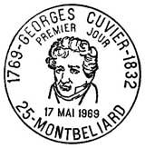 Oblitération 1er jour à Montbéliard le 17 mai 1969