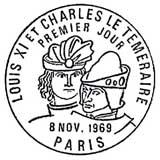 Oblitération 1er jour à Paris et Dijon le 8 novembre 1969