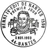 Oblitération 1er jour à Nantes le 8 novembre 1969