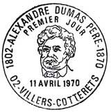 Oblitération 1er jour à Villers-Cotterets le 11 avril 1970