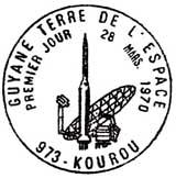 Oblitération 1er jour à Kourou (Guyane) le 28 mars 1970