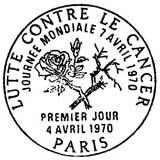 Oblitération 1er jour à Paris le 4 avril 1970