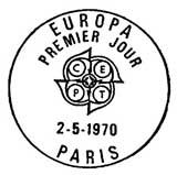 Oblitération 1er jour à Paris et Strasbourg le 2 mai 1970
