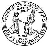 Oblitération 1er jour à Chambéry le 9 mai 1970