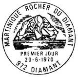 Oblitération 1er jour à Martinique Diamant le 20 juin 1970