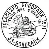 Oblitération 1er jour à Bordeaux le 6 mars 1971