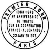 Oblitération 1er jour à Paris le 22 janvier 1973