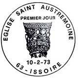 Oblitération 1er jour à Issoire le 10 février 1973