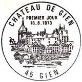 Oblitération 1er jour à Gien le 18 aout 1973