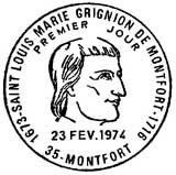 Oblitération 1er jour à Montfort le 23 février 1974