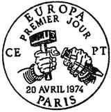 Oblitération 1er jour à Paris et Strasbourg le 20 avril 1974