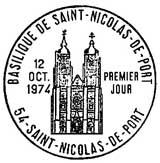 Oblitération 1er jour à Saint-Nicolas-de-Port le 12 octobre 1974