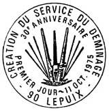 Oblitération 1er jour à Lepuix le 11 octobre 1975