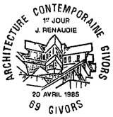 Oblitération 1er jour à Givors le 20 avril 1985