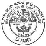 Oblitération 1er jour à Nancy le 17 mai 1986