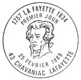 Oblitération 1er jour à Chavaniac le 25 février 1989