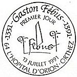 Oblitération 1er jour à l'hospital d'Orion-Orthez et Foix le 13 juillet 1991