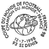 Oblitération 1er jour à St-Denis le 12 juillet 1998